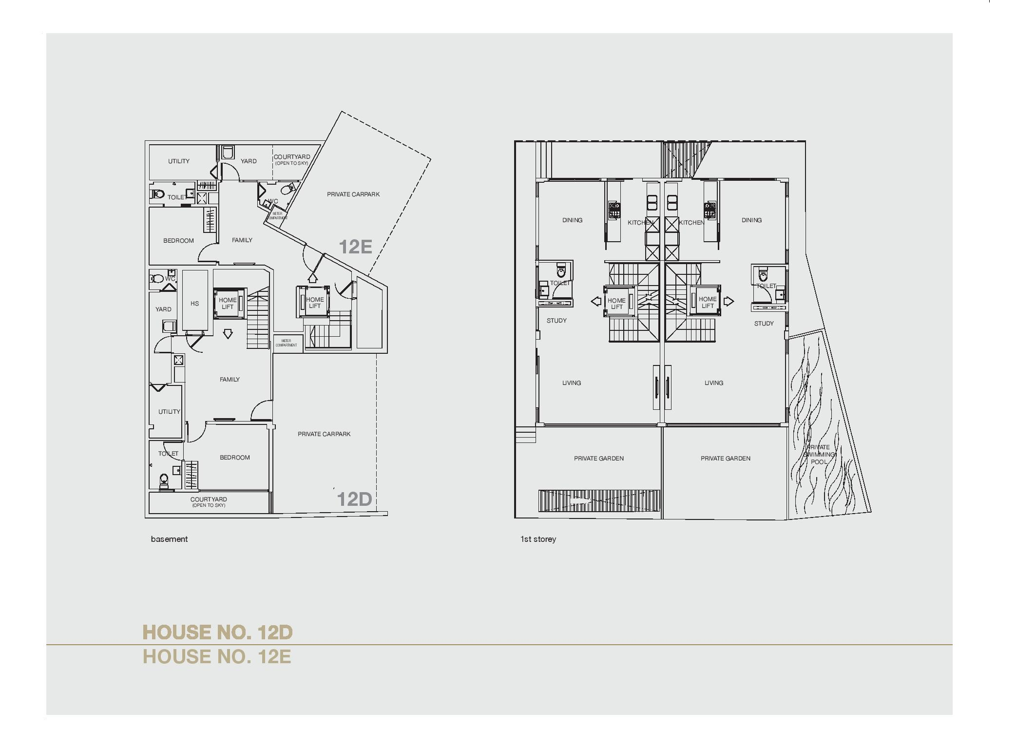 Chancery Hill Villas House 12D/12E Basement & 1st LevelFloor Plans