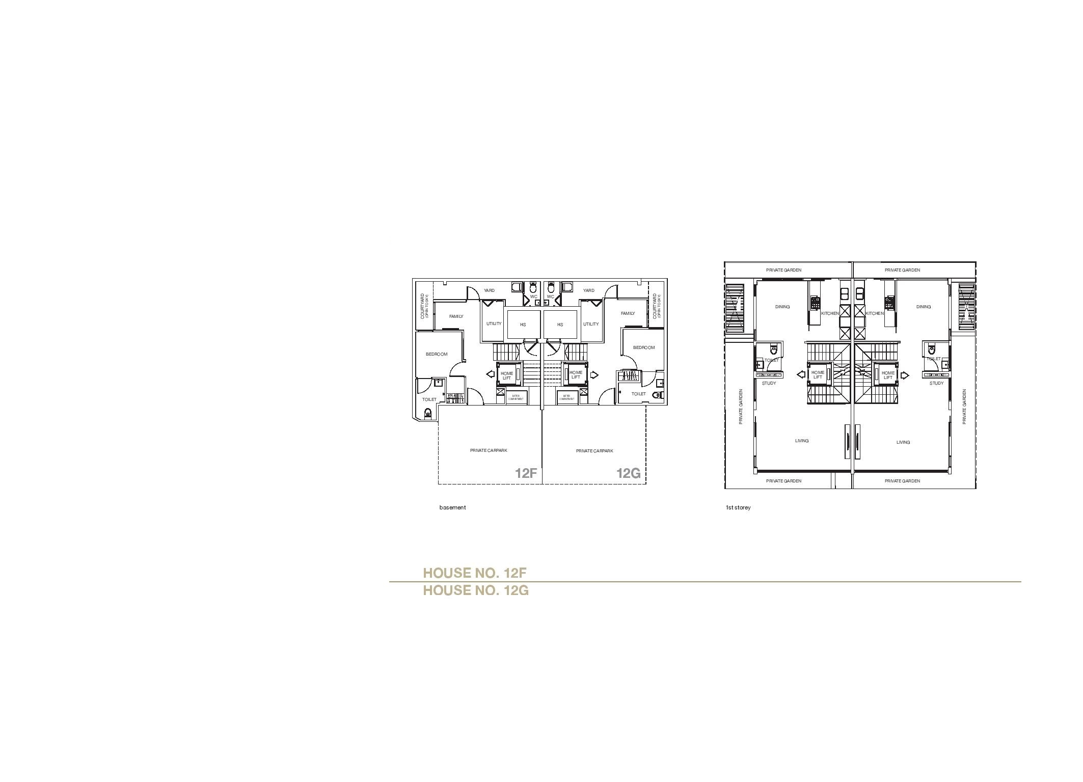 Chancery Hill Villas House 12F/12G Basement & 1st LevelFloor Plans