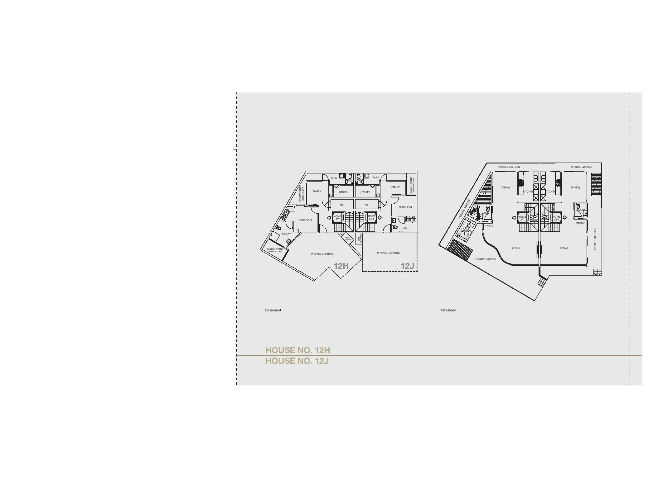Chancery Hill Villas House 12H/12J Basement & 1st LevelFloor Plans