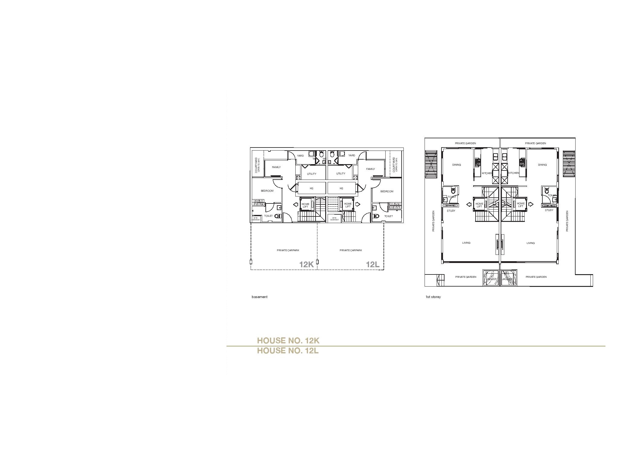 Chancery Hill Villas House 12K/12L Basement & 1st LevelFloor Plans