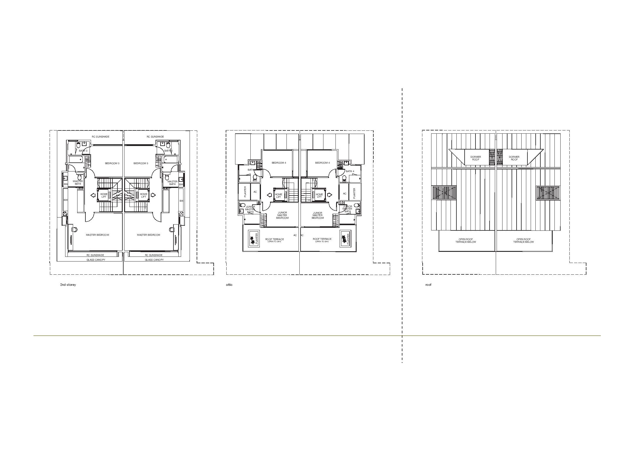 Chancery Hill Villas House 12K/12L 2nd Level, Attic and Roof Floor Plans