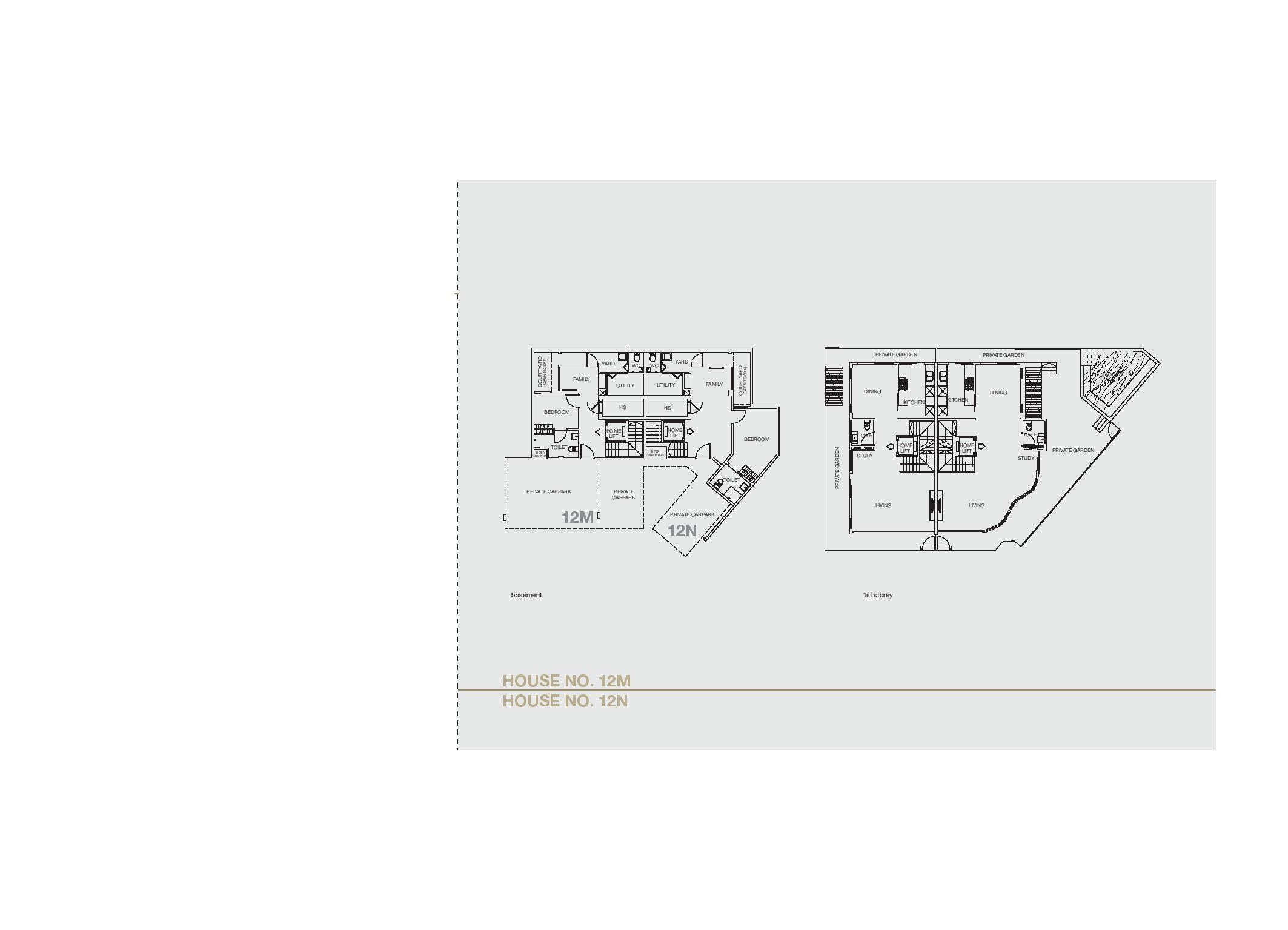 Chancery Hill Villas House 12M/12N Basement & 1st LevelFloor Plans