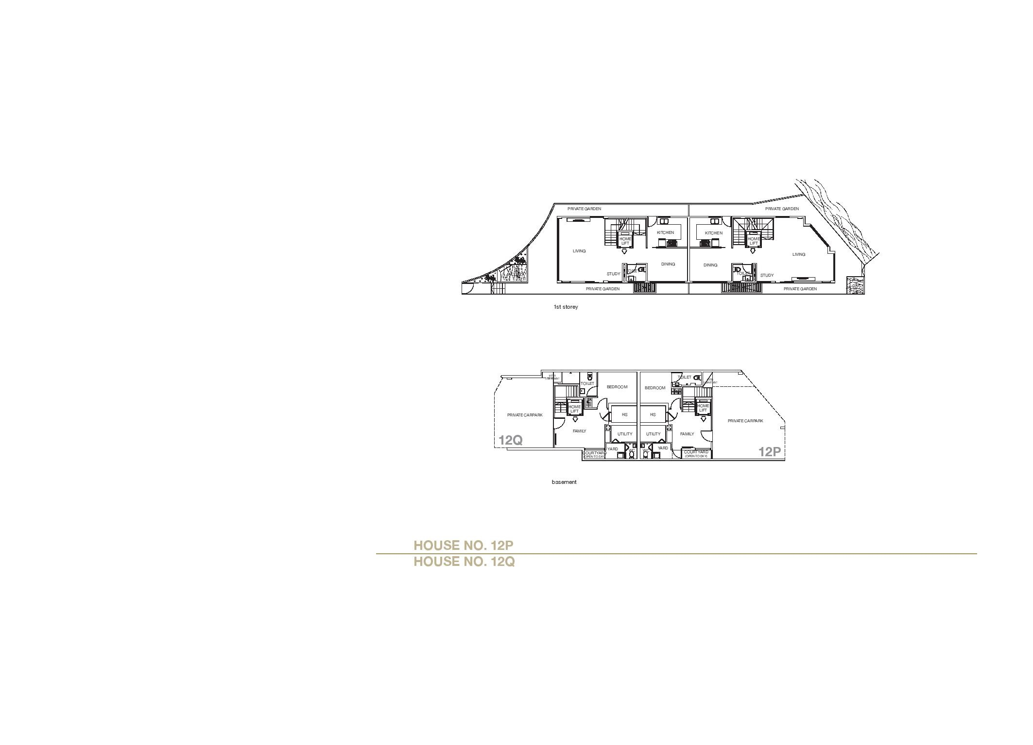 Chancery Hill Villas House 12P/12Q Basement & 1st LevelFloor Plans