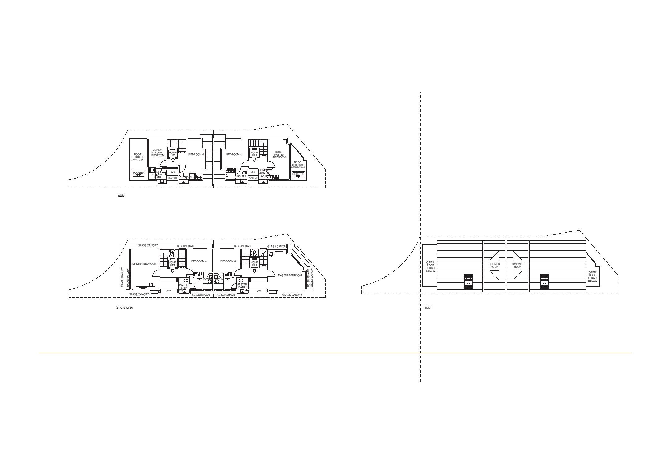 Chancery Hill Villas House 12P/12Q 2nd Level, Attic and Roof Floor Plans