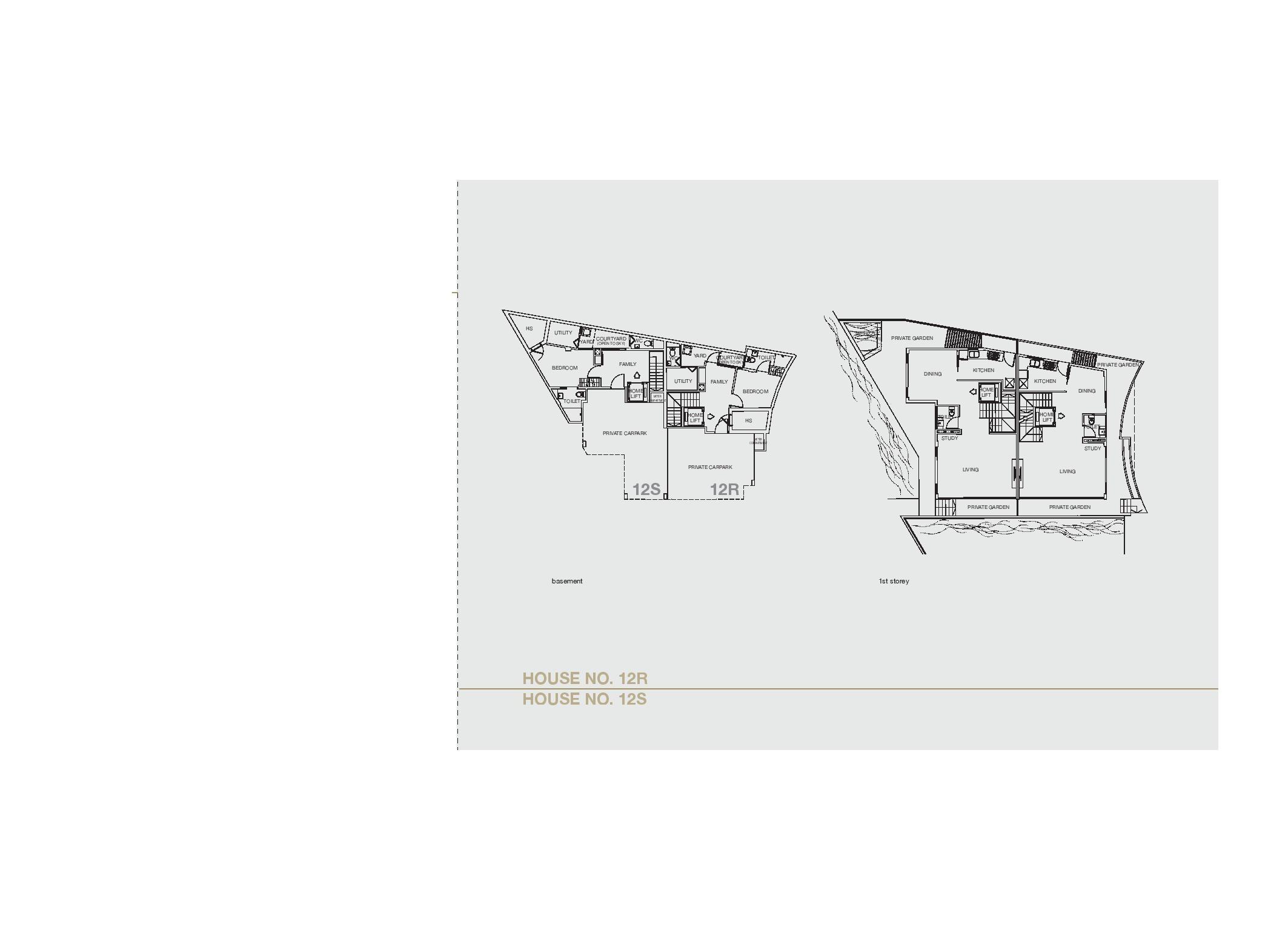 Chancery Hill Villas House 12R/12S Basement & 1st LevelFloor Plans