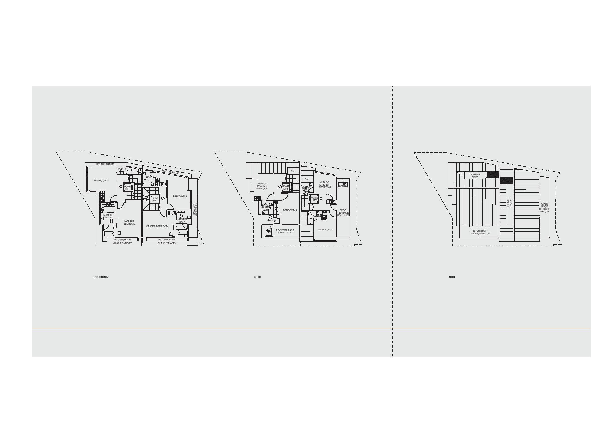 Chancery Hill Villas House 12R/12S 2nd Level, Attic and Roof Floor Plans